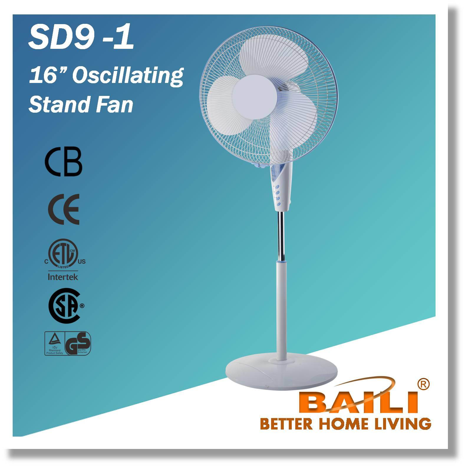 "16"" Oscillating Stand Fan with Timer"