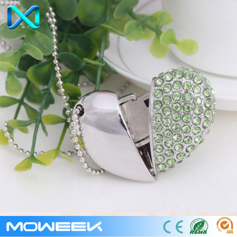 Crystal Heart Jewelry Storage USB Flash Drive
