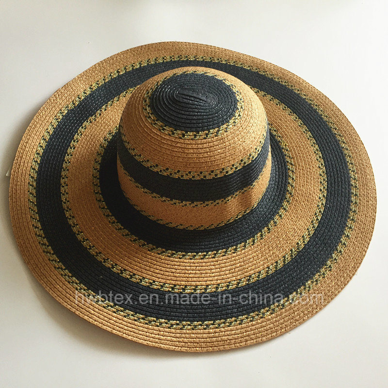 Fashion Big Women Summer Hat Sun Wide Brim Paper Straw Hat with Round Stripe (HW061)