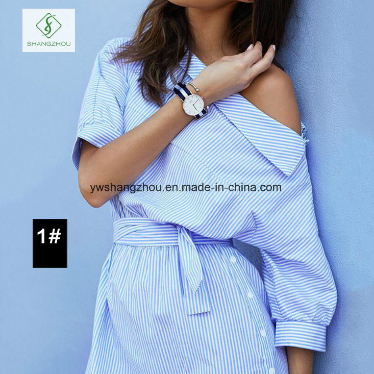 Hot Sell Fashion One-Shoulder Elegant Blue Striped Women Shirt Dress