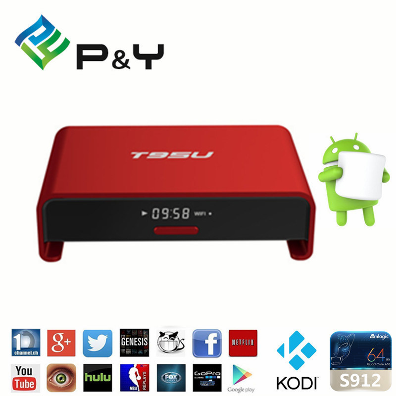2016 Pendoo T95u PRO Amlogic S912 Android 6.0 TV Box Octa Core 2g RAM 16GB ROM Kodi 17.0 Pre-Installed Smart Box