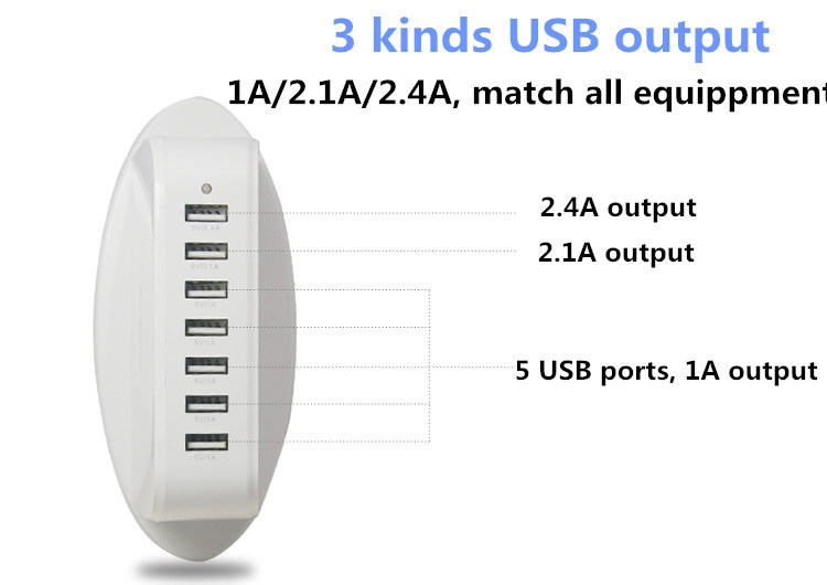 Wire Charger Global Cell Phone Charger with 7 USB Port