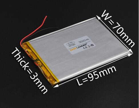 3X70X95mm 3.7V 3000mAh Lipo Polymer Li-ion Lithium Battery for Remote Controller Portable Mobile Phone E-book Power Bank 307095