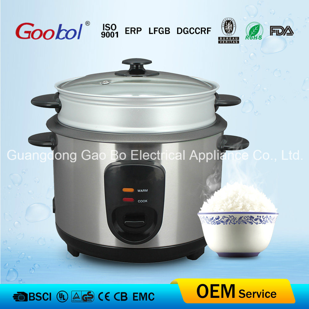 New Design Panel Stainless Steel Rice Cooker, Glass Lid & Steamer