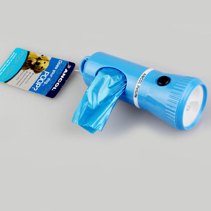 Dog Pet Poop Walking Flashlight with Plastic Bag