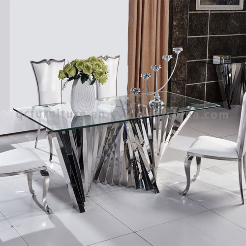 2016 Modern latest Mirror Glass Top Dining Table with Metal