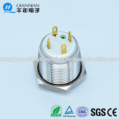 Qn16-D4 16mm Momentary Flat Head Mini LED Ring Metal Push Button Reset Switch