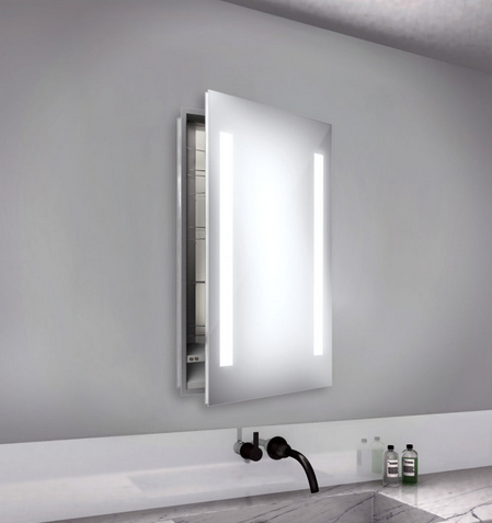 Lucent Round Stainless Steel Medicine Cabinet with Lighted Mirror (LZ-020)
