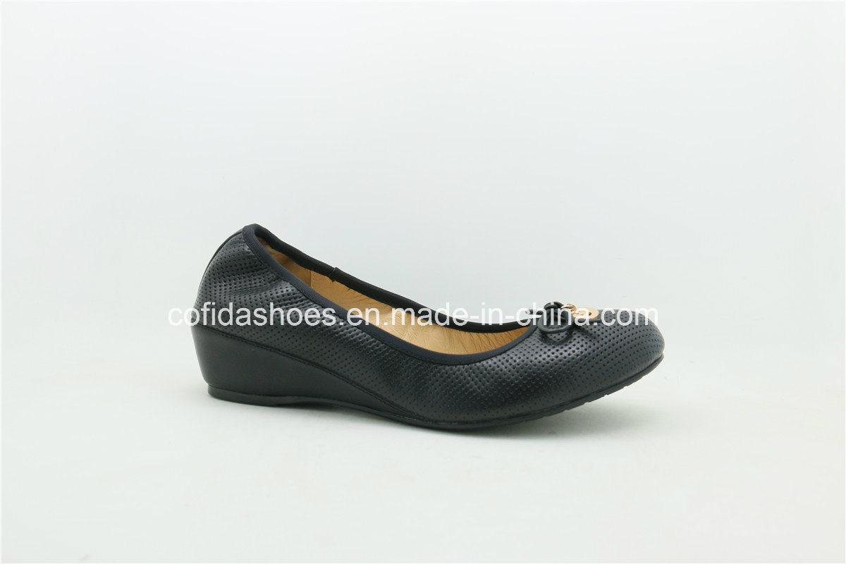 Comfort Wedge Heel Soft Leather Ballerina Pumps Women Shoe