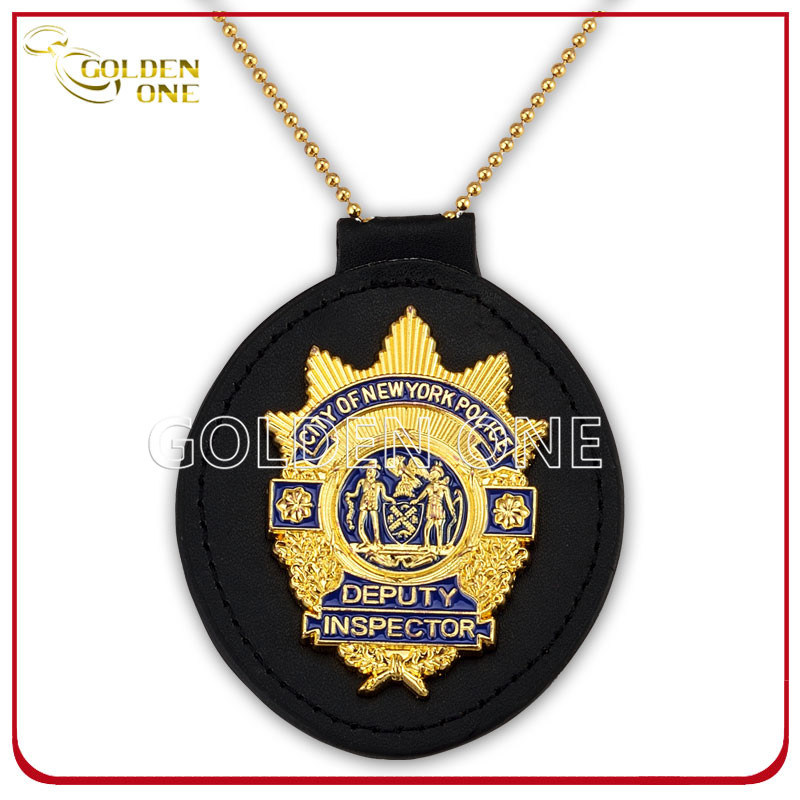 Custom Gold Plating Metal Security Badge with Genuine Leather Holder