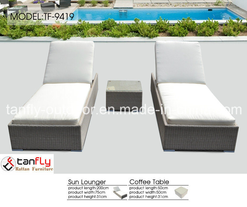 Factory Wholesale PE Rattan Wicker Outdoor Chaise Lounge