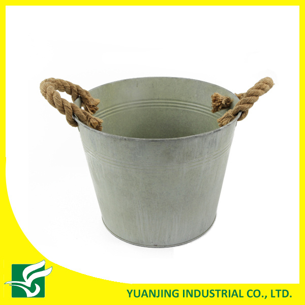 Home Garden Decoration Metal Zinc Bucket with Hemp Rope Handle