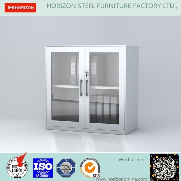 Double Swinging Steel Framed Glass Doors Storage Cabinet