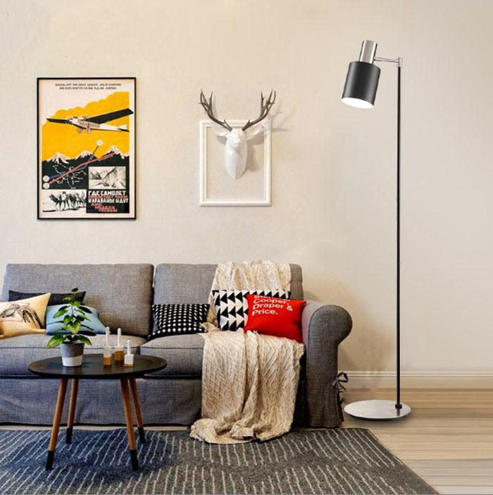 Ce/UL Matt Nickel and Black Modern Indoor Standing Light Floor Lamp for Bedroom / Living Room