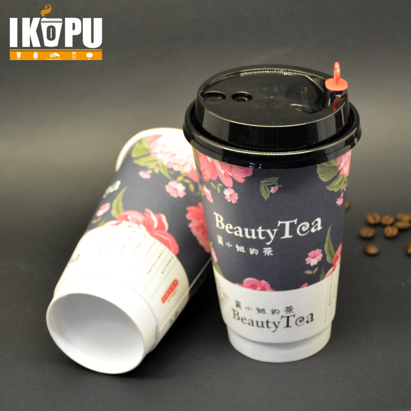 Disposable 16oz Paper Cup for Hot Coffee with Lid
