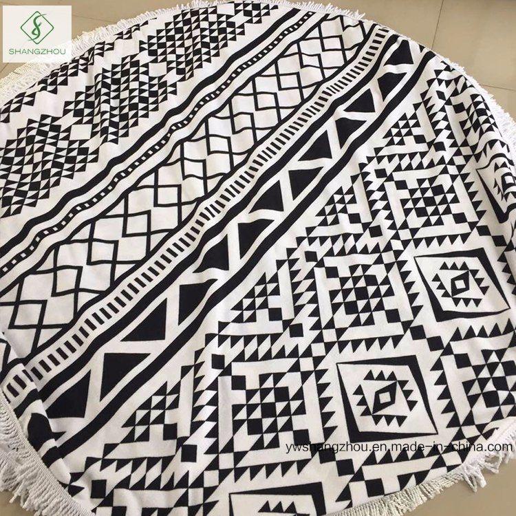 Wholesale Qualified Microfiber Printed Round Beach Towel with Tassel [Order]