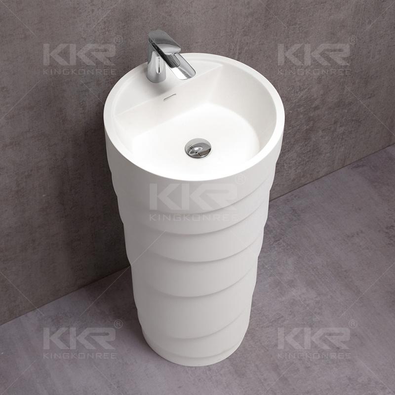 Round Solid Surface Stone Pedestal Wash Basin (B170908)