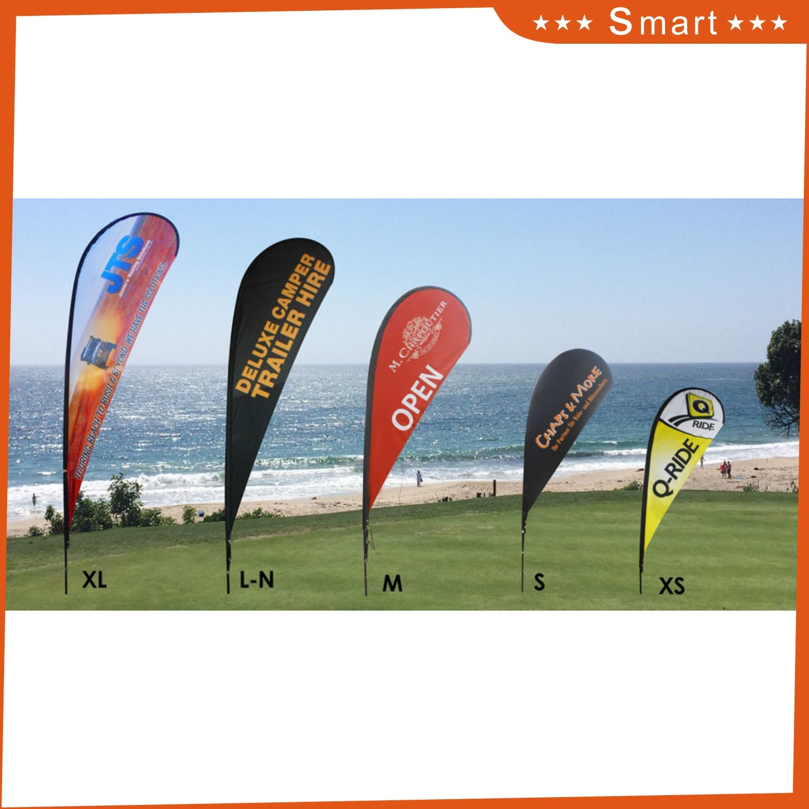 Hot Selling Promotion Advertising Printing Teardrop Feather Flying Beach Flag