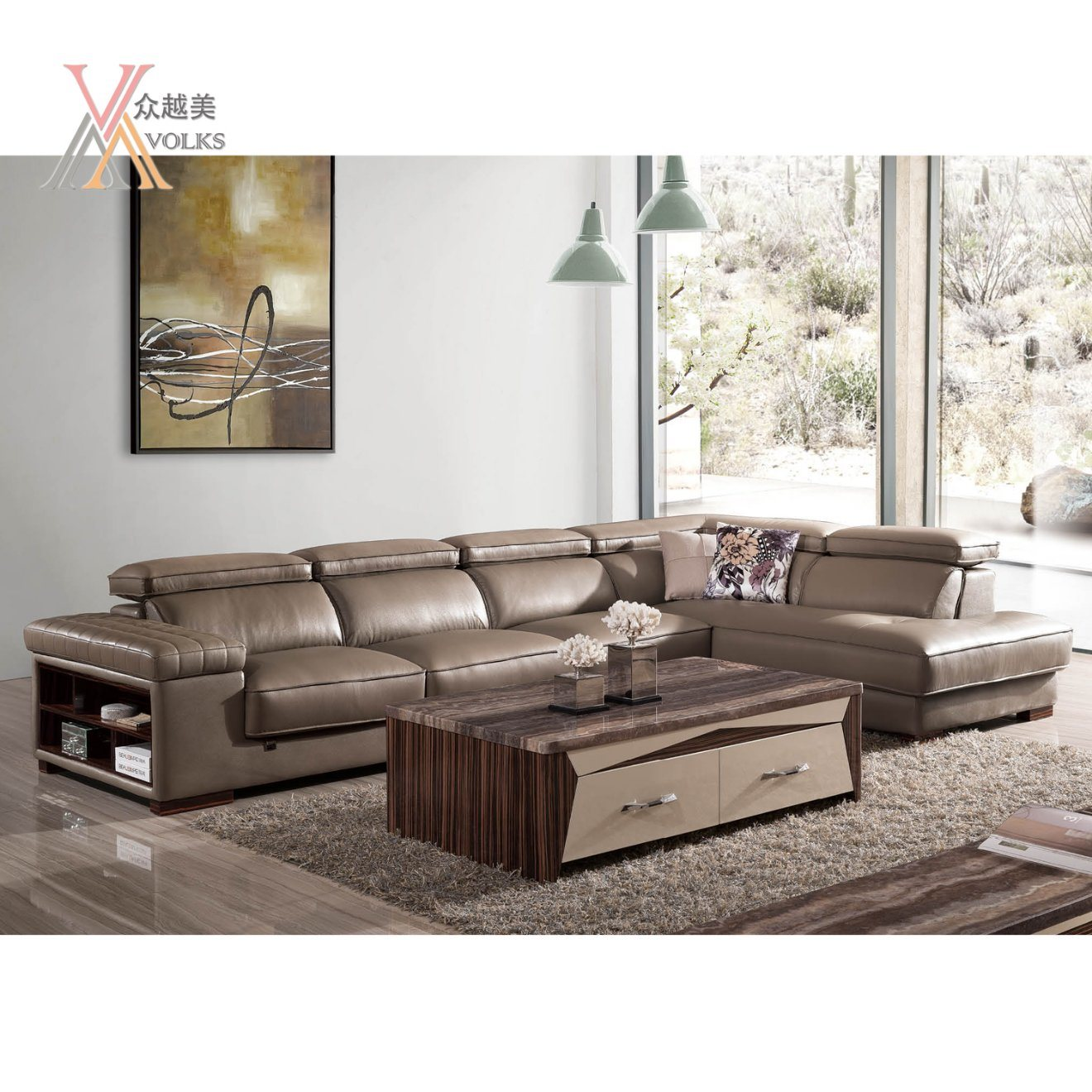 Modern Grey Leather Sofa with Corner (JM-1631A)