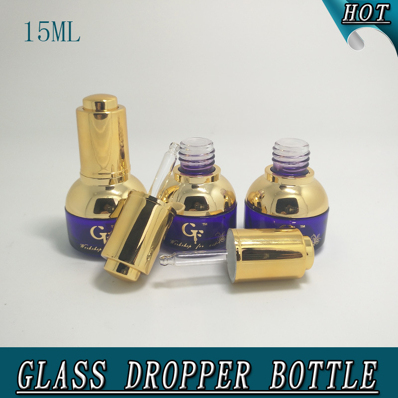 15ml 1/2oz Fancy Purple Glass Dropper Bottle with Pipettes