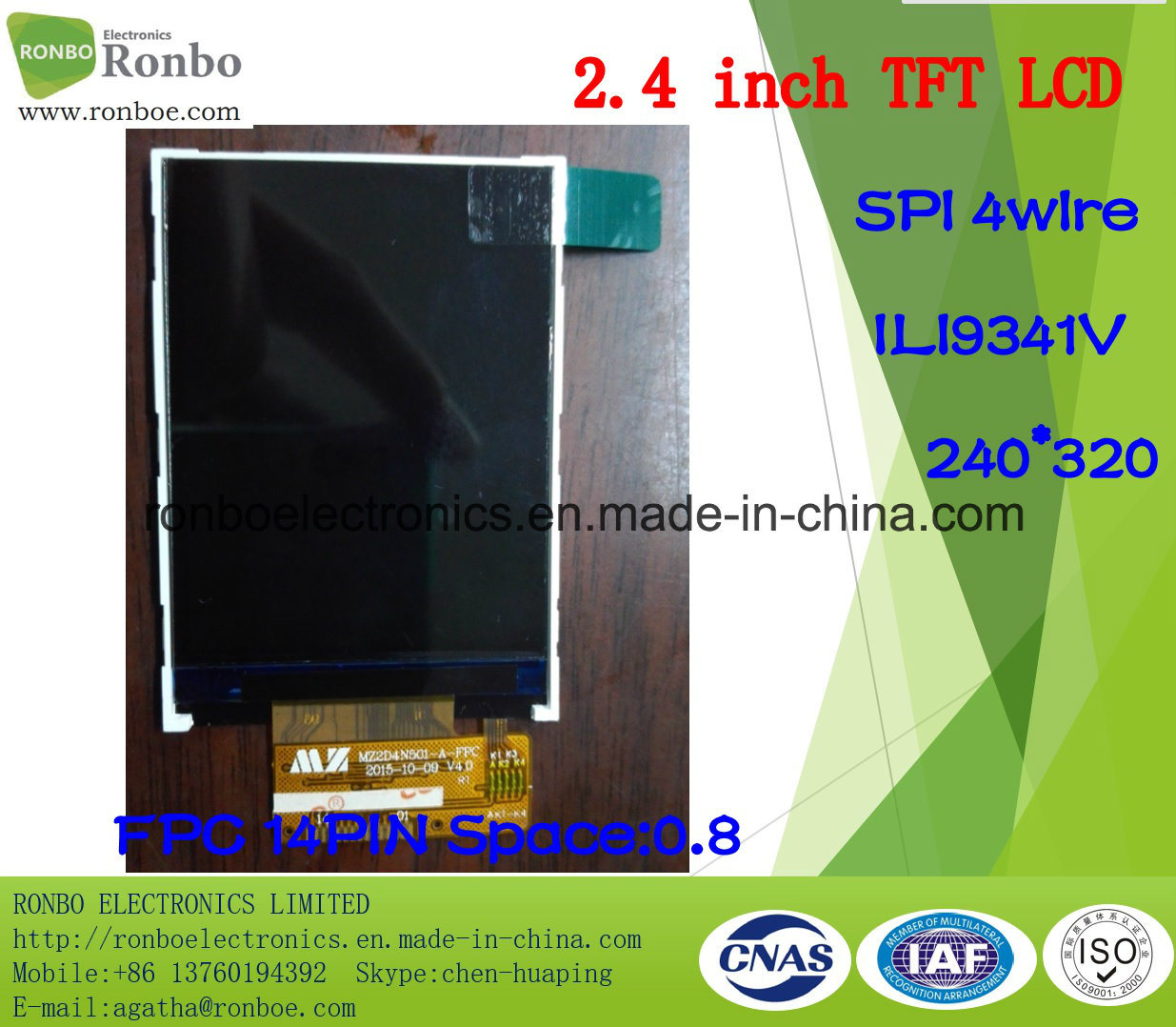 2.4 Inch 240*320 Spi TFT LCD Monitor, Ili9341V, 14pin with Option Touch Screen
