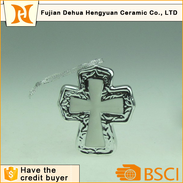 Ceramic Mini Cross Hanging Ornaments for Christmas Decoration