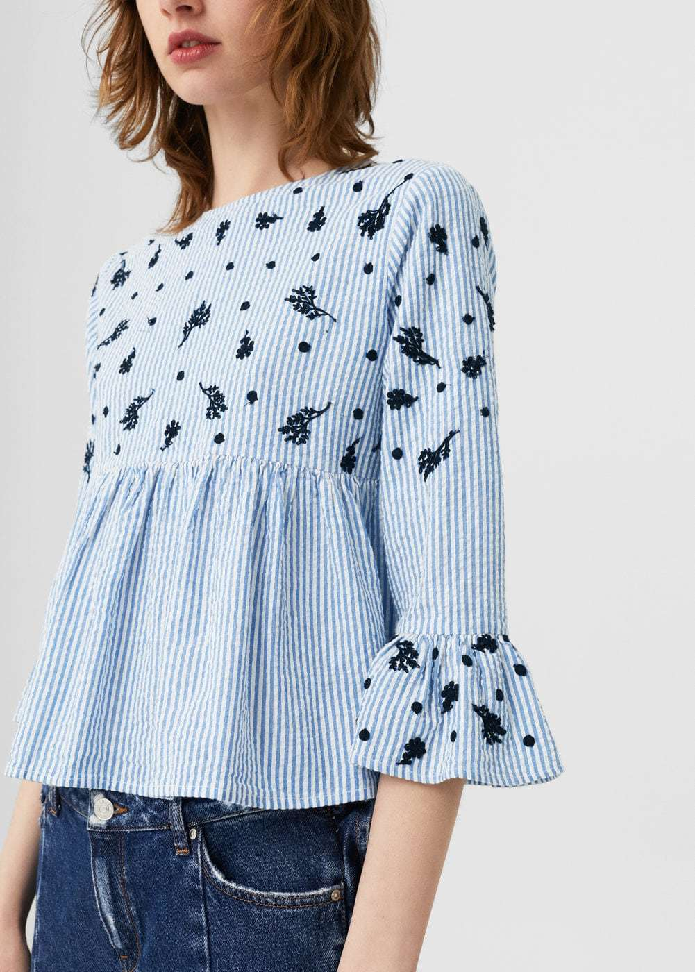 Cotton Fabric Striped Printing Blouse