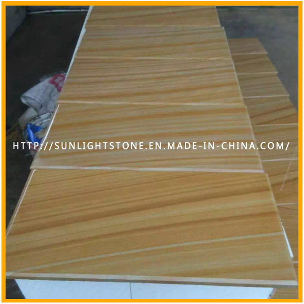 Honed Yellow Wood Vein Sandstone for Wall/Floor Tiles