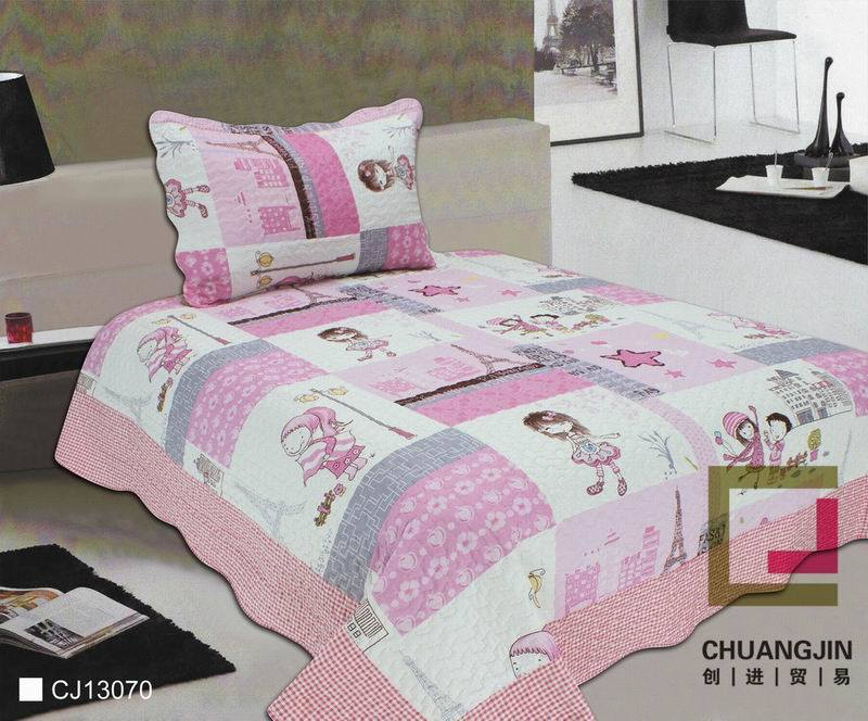 Printed 100% Cotton or Polyester Children Quilt Set (beddding set)