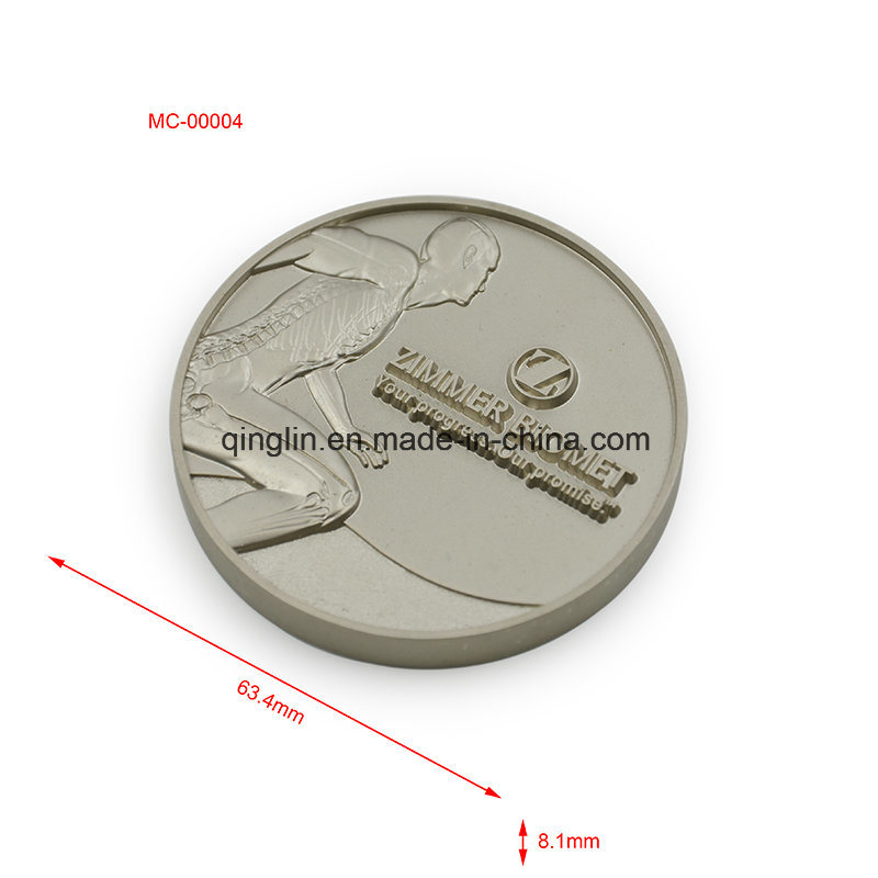 Customized Antique Silver Finish Metal Engraved Medal