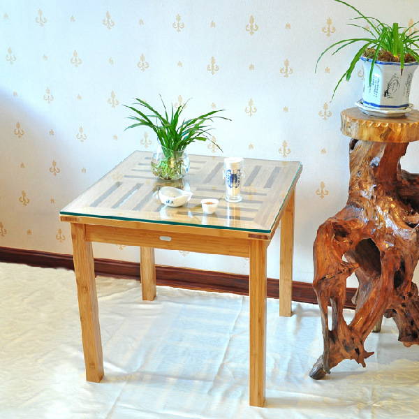 Glass Top Side Bamboo Coffee Table for Dining