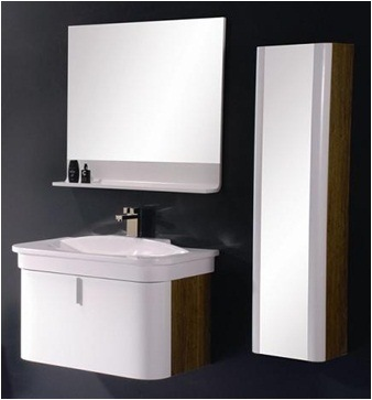 wall mounted modern plywood bathroom cabinet cover with wooden veneer
