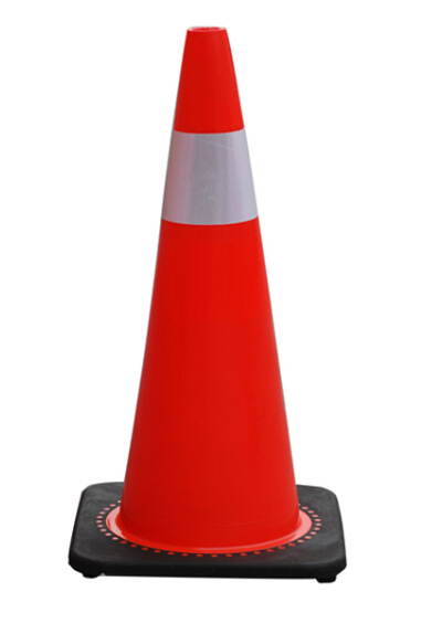 "28"" 7lb Best Molded Orange Traffic Cone with Reflective Collar"