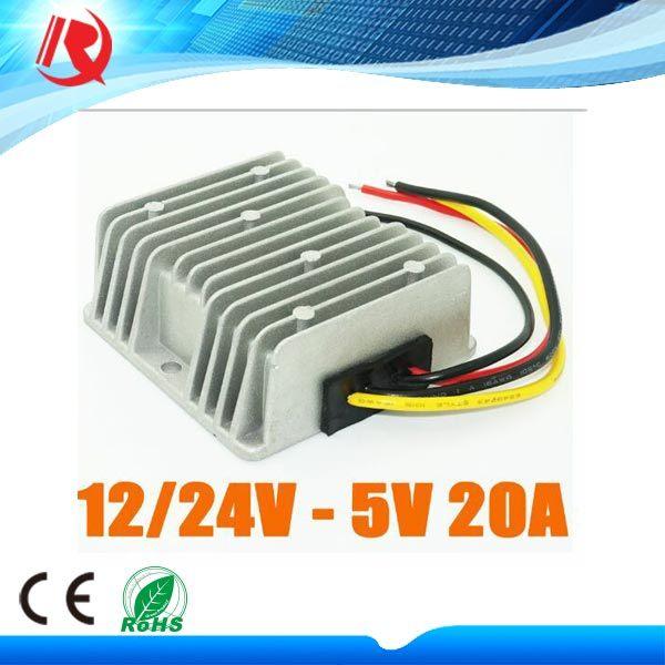 12V / 24V Turn 5V 20A 100W DC-DC Buck Converter Automotive Vehicle Displays Waterproof Power Supply
