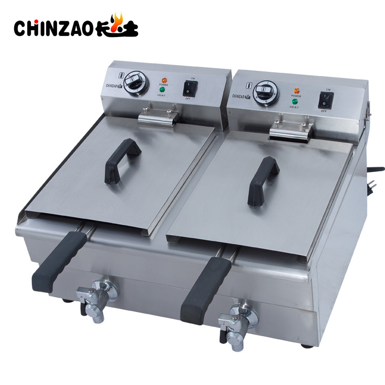 17L Dual Tank Stainless Steel Electric Deep Fryer with Drain Tap