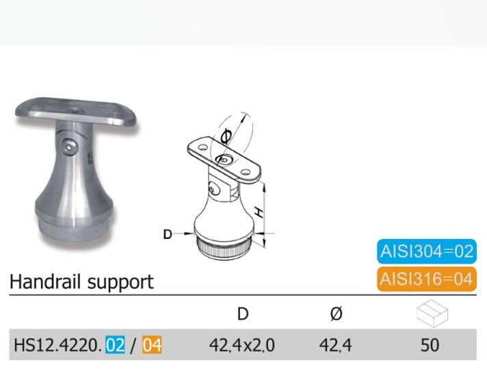 All Kinds Stainless Steel Handrail Support Fittings (HS12.02/04)