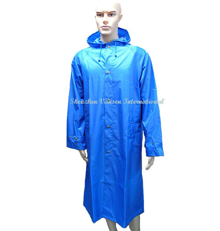 Blue Long Raincoat/ Rainwear/ Rain Coat by China Factory