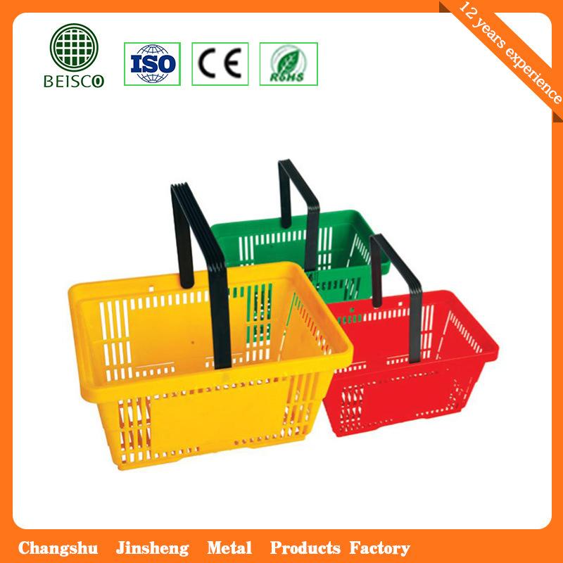 Telescope Plastic Supermaket Rolling Shopping Basket (JS-SBN06)