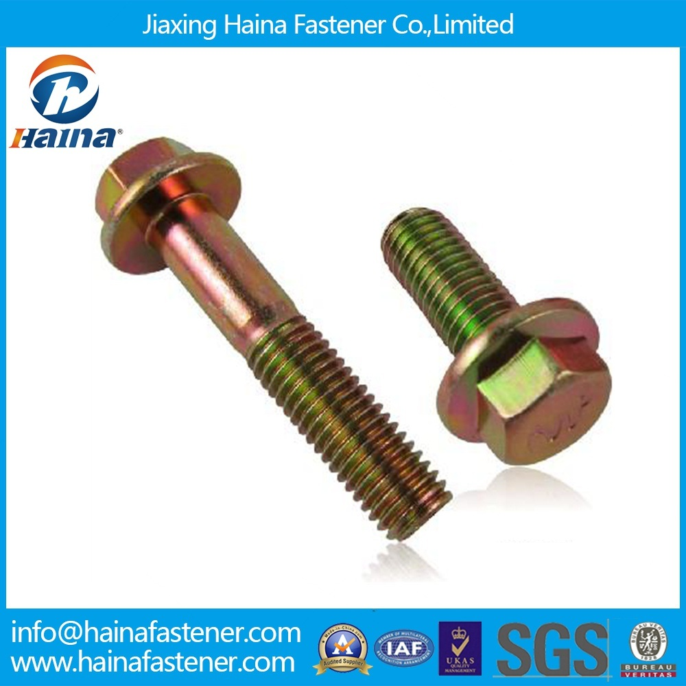 Grade10.9 Color Zinc Plated Automobile Standard Flange Bolt in Stock