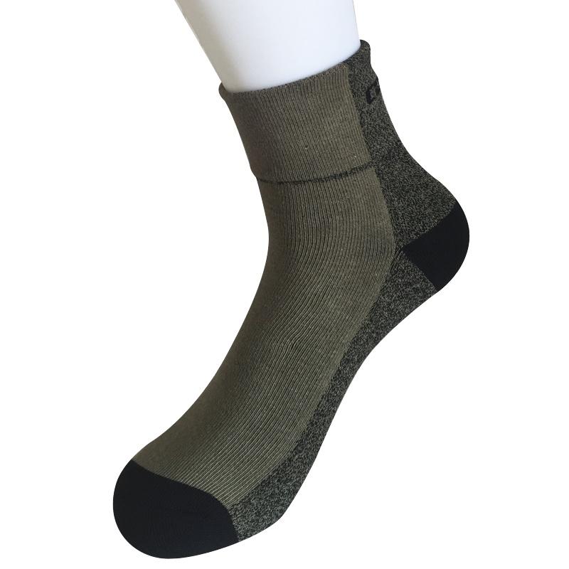 Half Cushion Poly Twisted Yarns Fashion Quarter Army Green Socks (JMPQ02)