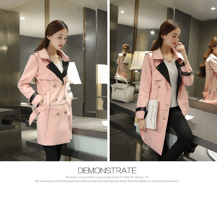 Suede Fabric Women Double-Breasted Jacket Long Coat