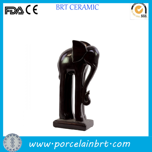 Giftware Black Long Ceramic Standing Elephant Statues
