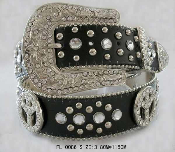 Studded Belt with Peace and Rhinestone Fl-0085