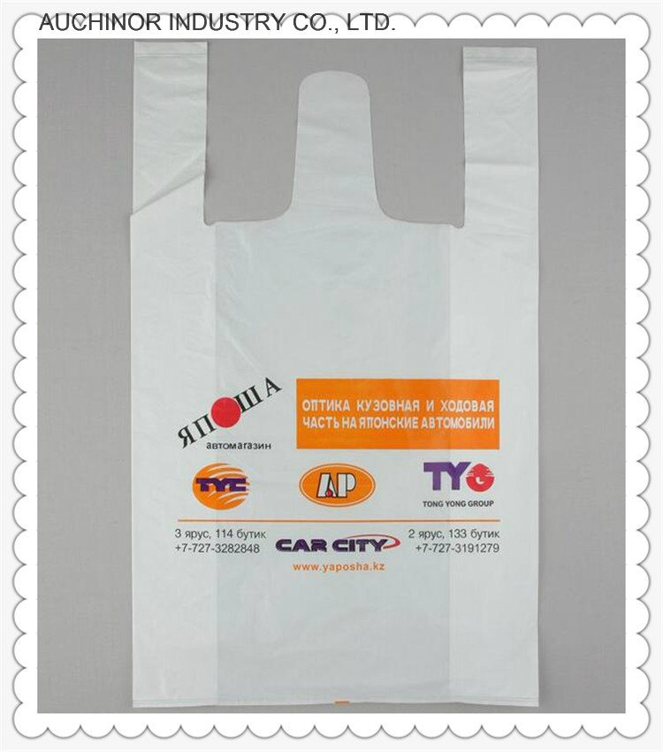 Printed Recyclable HDPE T-Shirt Singlet Vest Carrier Shopping Bags for Superstores