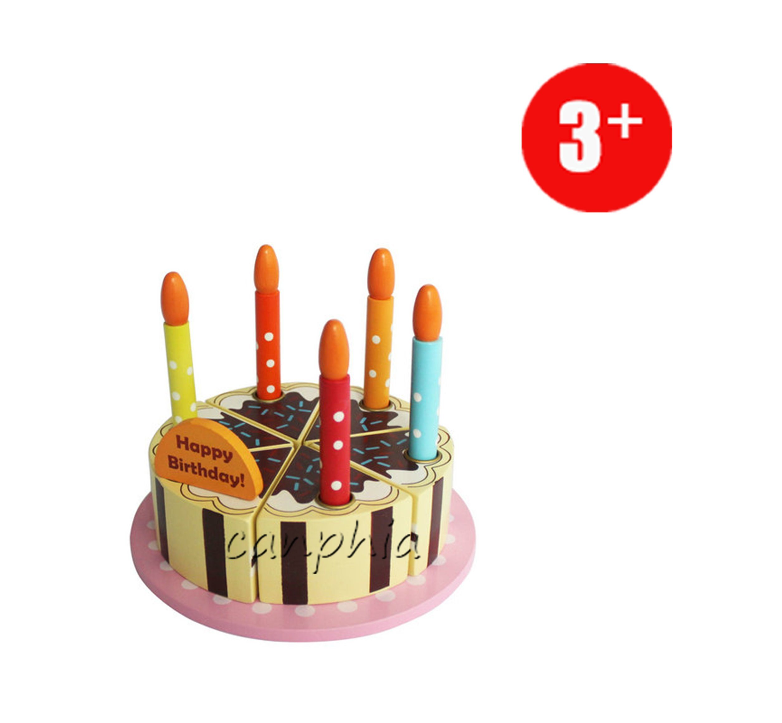 Wooden Toy Educational Pretend Play Cake Playset DIY Toy