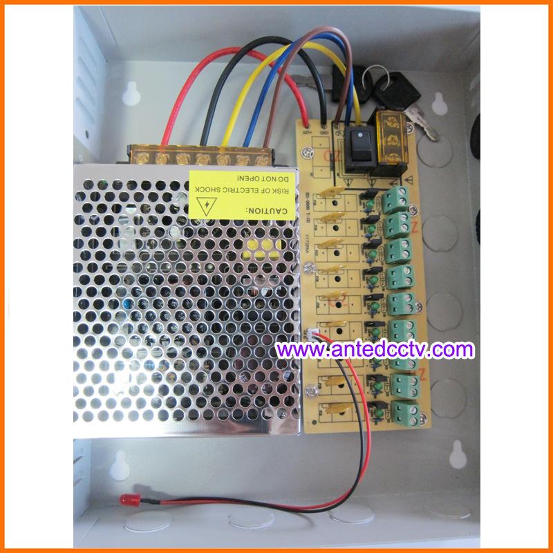 9 Channel CCTV Power Supply Box DC 12V 10A 120W, CCTV Power Distribution Unit