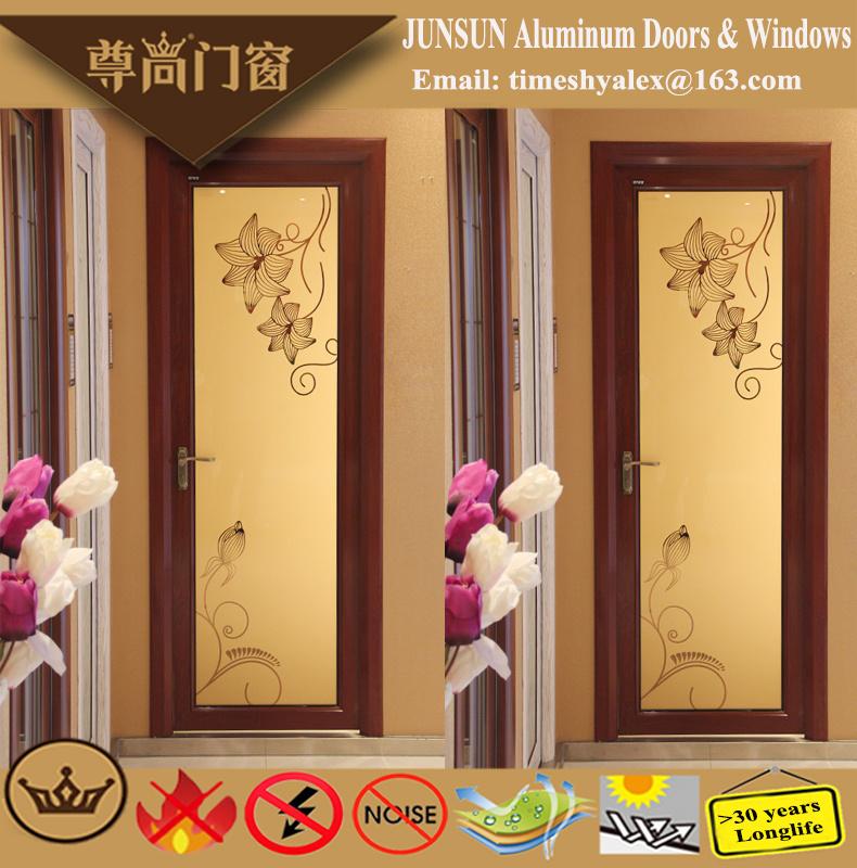 Chinese Style Sandal Wood Grain Aluminium Decorative Casement Door