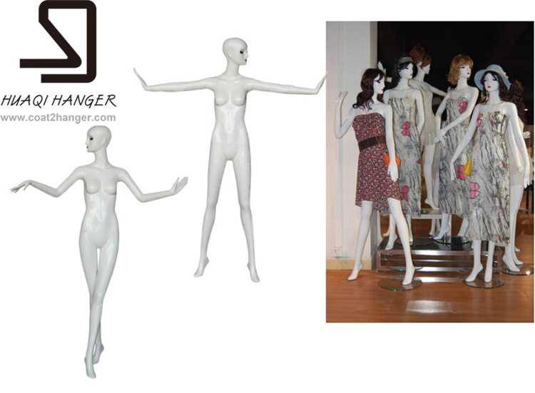 Huaqi Sexy Female Mannequin, Fiberglass White Female Manikin for Window Display