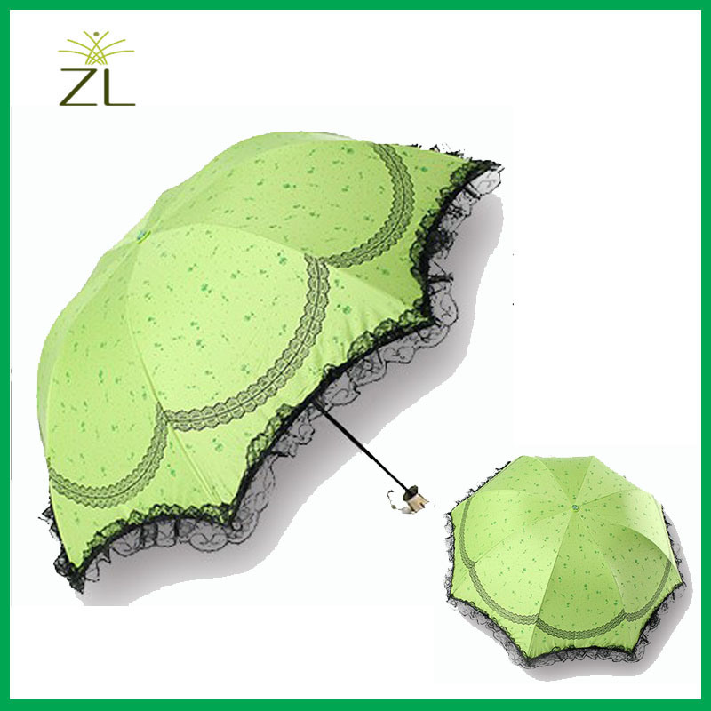22 Inch 8k 3 Fold Polyester Fabric Lace Edge Folding Umbrella