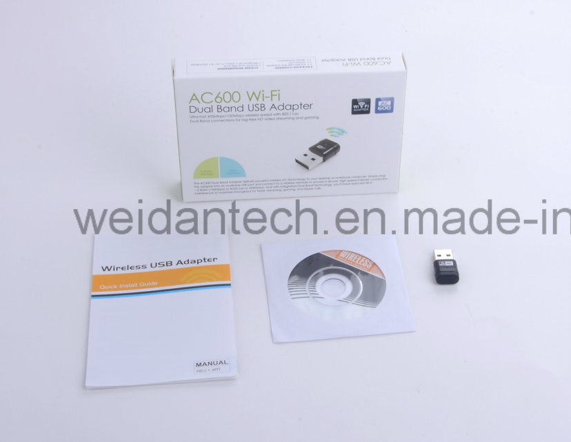 AC 600Mbps Dual Band 2.4G and 5g USB WiFi Dongle Adapter